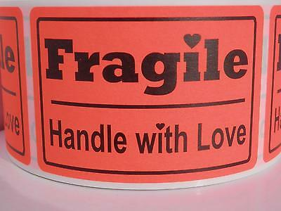 Fragile Handle With Love 2x3 Fluorescent Red Warning Stickers Labels 250rl