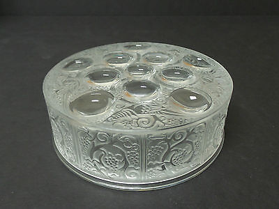 """LALIQUE CRYSTAL CLEAR & FROSTED """"ROGER"""" ART GLASS DRESSER / POWDER BOX"""