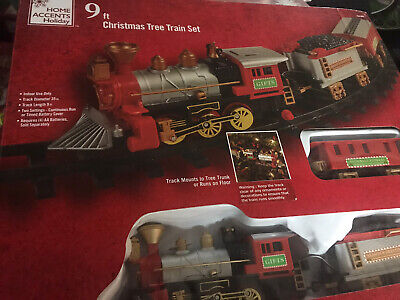 Home Accents 9 Ft Christmas Tree Train Set New Battery Operated