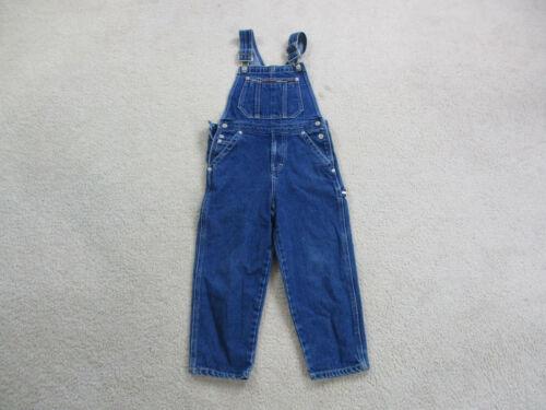 VINTAGE Tommy Hilfiger Overalls Boys Large Size 5 Blue Denim Jeans Flag Kids 90s