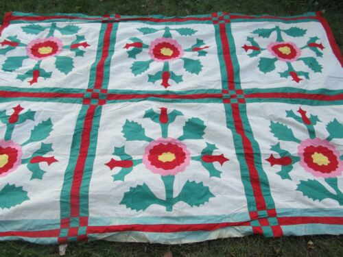 Beautiful, Very Striking, ANTIQUE APPLIQUE QUILT TOP, 1800