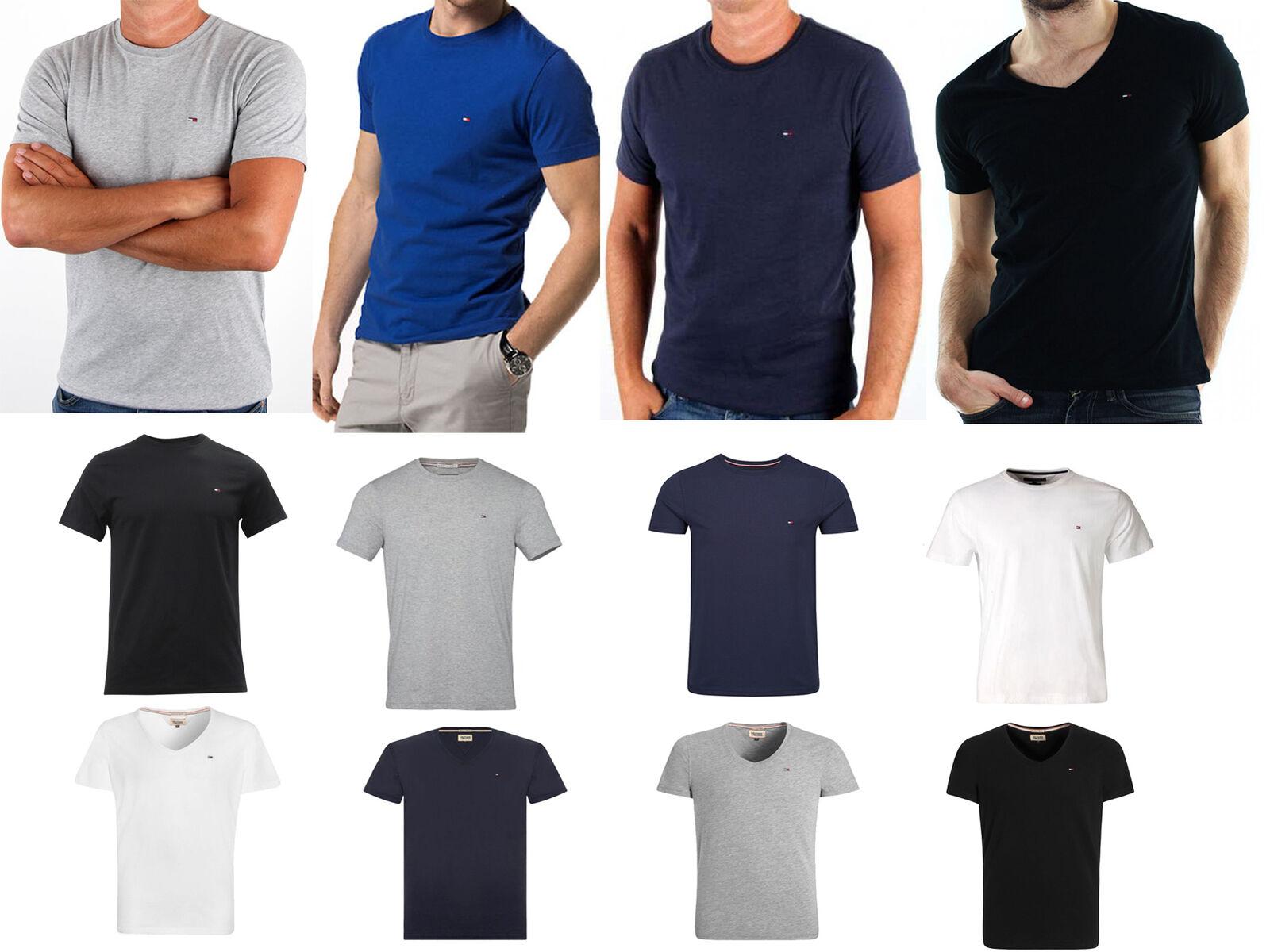 Tommy Hilfiger Denim T Shirt Herren V Neck Rundschnitt Rundhals Neu &OVP