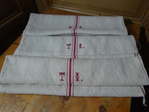 Antique European Feed Sack GRAIN SACK TI Monogram # 10450