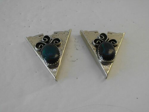 Collar Tip Pair Aqua Marine Squaw Wrapped Silver Tone Western Vintage  1970