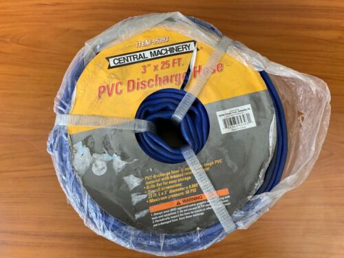"Central Machinery PVC Discharge Hose 3"" x 25 ft Braided Reinforcement Blue"