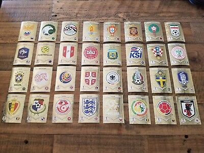 TEAM BADGES LEGENDS FOILS Panini FIFA World Cup Russia 2018 Stickers Logo Emblem