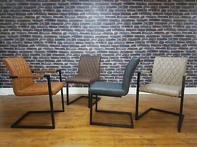 Retro Vintage Leather Metal Frame Cantilever Industrial Dining Carver Side Chair