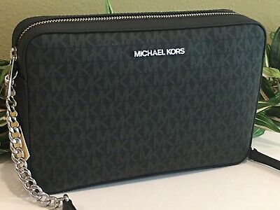 MICHAEL KORS JET SET LARGE EW CROSSBODY MESSENGER BAG BLACK SIGNATURE $328