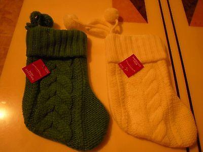 New !  Christmas Mini Stockings Holiday Decorations Green and White Color](White Christmas Stockings)