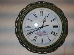 Ingraham battery wall Clock with antique green Victorian Metal Arts Frame.