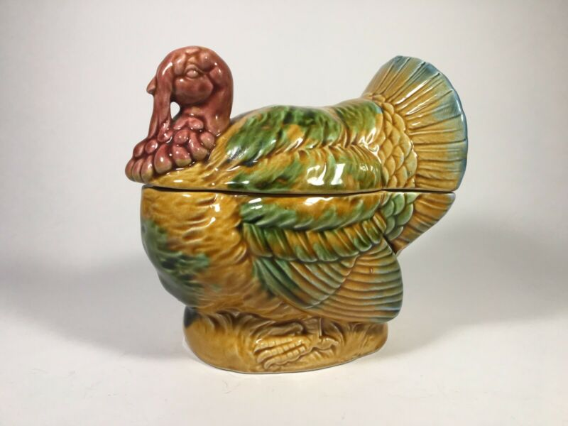 Vintage Japan Hand-Painted Ceramic Lefton Thanksgiving Turkey Sugar Dish/Bowl