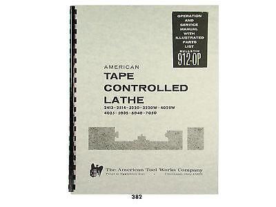 American Tape Controlled Lathe Service Parts Manual 2413 Thru 7050 382