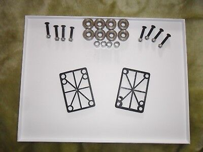 FULL SKATEBOARD ACCESSORIES KIT, RISERS ABEC BEARINGS BOLTS SPACERS SPEEDWASHERS