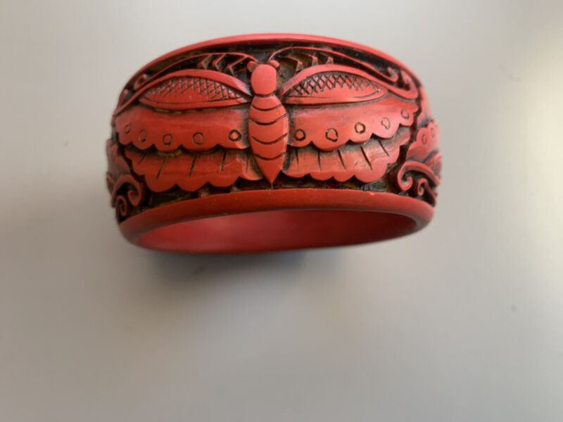 red lacquer chinese Bracelet Moth Butterfly Vintage