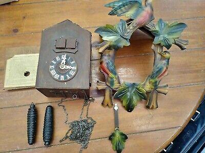 VINTAGE GERMAN CUCKOO CLOCK - REPAIR OR PARTS Color Birds 3 weights chain etc