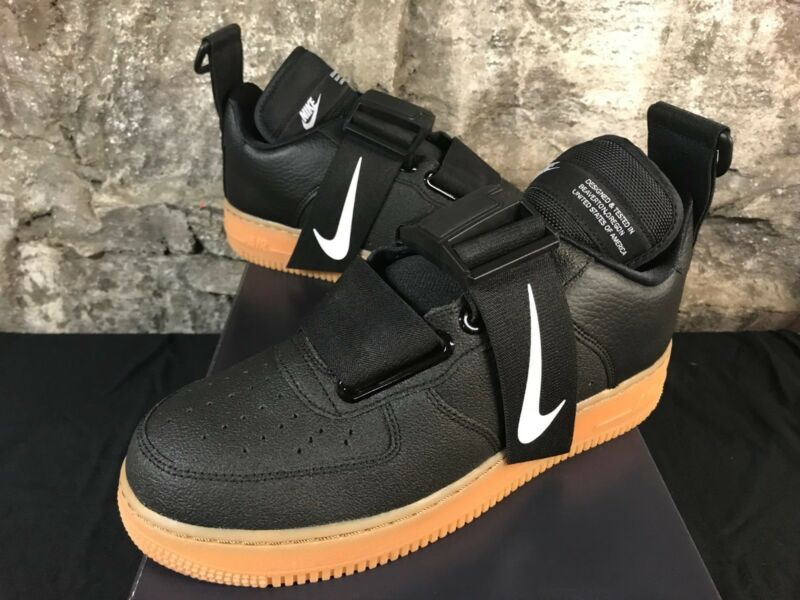 new styles 210c3 46020 NIKE Air Force 1 UTILITY AO1531-002 BLACK WHITE GUM AF1 LOW SIZE 8-