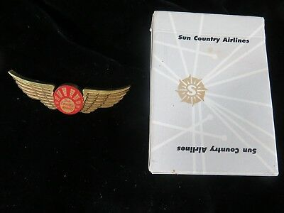 Vintage Sun Country Airlines Playing Cards   Junior Pilot Wings Plastic Hoyle