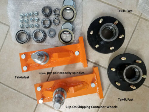 Clip-on Shipping Container Wheels, 7000# Spindle Kit (1 Set) Hundreds Sold