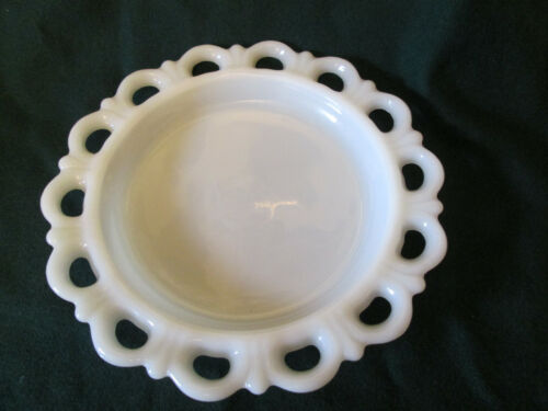 """Vintage 8-1/4"""" Round Lace Edge Milk Glass Plate Tray"""