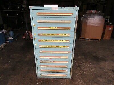Equipto 12 Drawer Cabinet W Misc Electrical Fuses Lens Pushbuttons