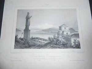 1840-LITOGRAFIA-SAN-CARLO-BORROMEO-ARONA-LAGO-MAGGIORE-RAFFINATISSIMA