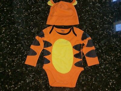 Disney Store Tigger Halloween Costume bodysuit Shirt Hat 6 12 Month Baby - Tigger Kostüm Shirt
