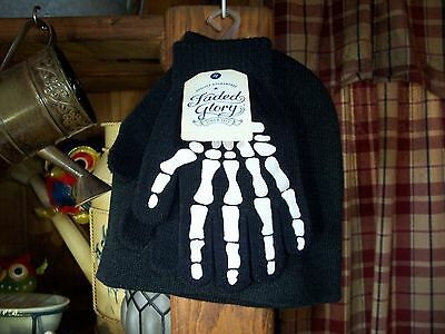 FADED GLORY BOYS SKELETON DESIGN TOBOGGAN AND MITTEN SET BLACK KIDS WINTER GLOVE