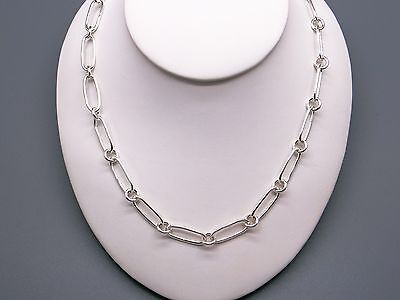 """Handmade Sterling Silver Oval Circle Link Chain Adjustable Necklace 16"""" 17""""  17 Oval Link"""
