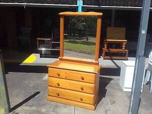 SOLID*CLEAN*PINE TIMBER DRESSING TABLE* CHEST OF DRAWERS + MIRROR Cartwright Liverpool Area Preview