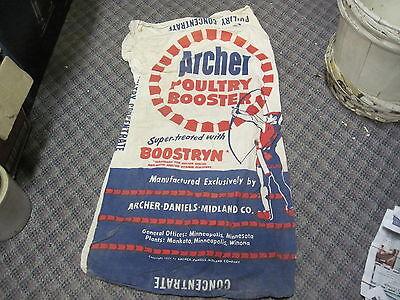 Archer Daniels Midland Feed Sack Poultry Booster Boostryn Bag Old Farm Seed