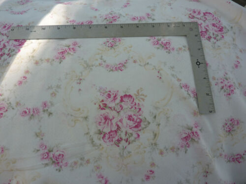 Yuwa Roseblossom Garland Cartouche Pink Roses  Cottage White  Shabby Chic Fabric
