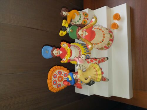 Huge Lot of Dymkovo Russian USSR Hand Painted Clay Toy Figure Folk Art Rare