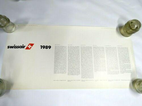 "Rare Vintage 1989 SwissAir Hanging Wall Calendar 15"" x 31"""