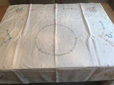 Vintage Hand Embroidered Large Square Linen Tablecloth Floral Pattern Flowers