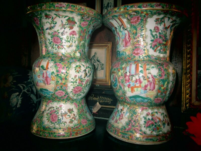 "PAIR 19thc FAMILLE ROSE VASES: LOVELY   13"" High, 9"" Mouth, 8"" Base  ANTIQUE"