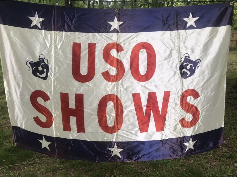 Vintage  Art Hag USO Shows Promo United Service Organizations Banner Please Read