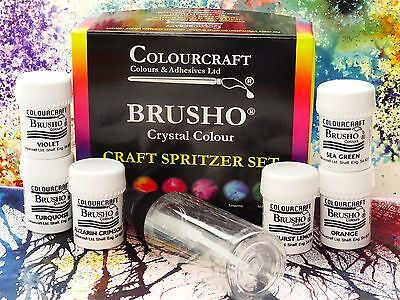 Brusho® Craft Spritzer Set 6 x 15g Pots + 60ml Spritzer Bottle