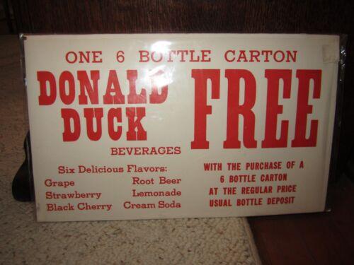 Rare Older Donald Duck One 6 Bottle Carton Paper Sign!!!!