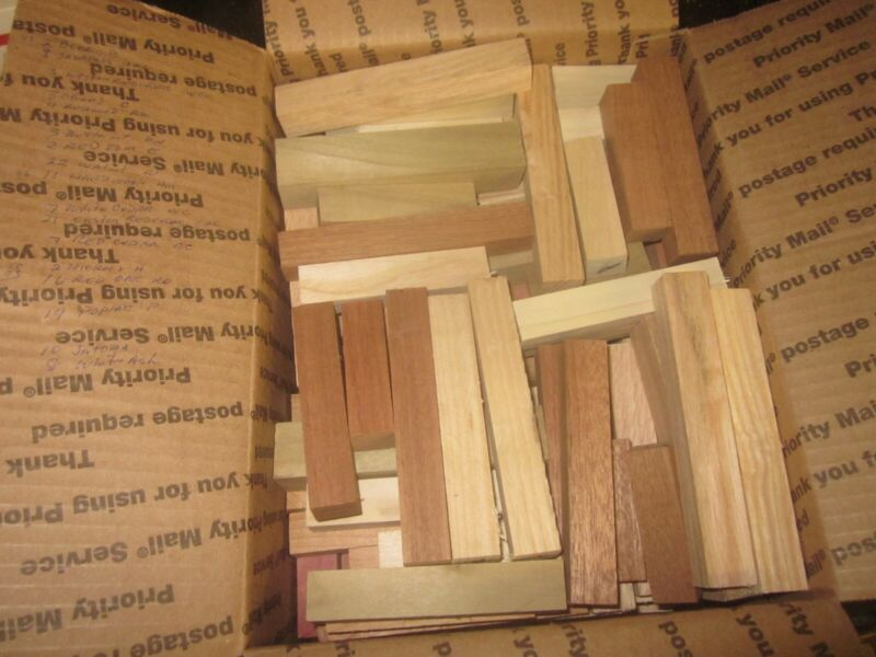 """143 Wood Pen Blanks 17 different species cut offs 5 1/4"""" to 2"""" lathe wood lumber"""
