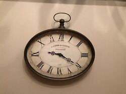 Hanging Oval Wall Clock Galerie du Gaston Vintage French Pocket Watch Style 16