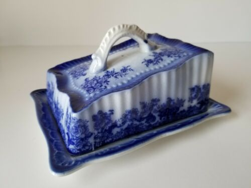 Antique Flow Blue Cheese Keeper Dish Trenwood England