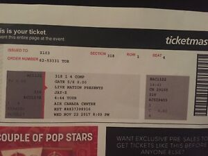 2 JayZ tickets for Wednesday November 22