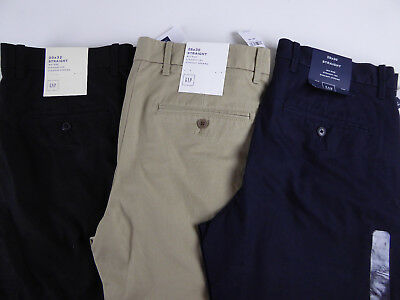 Gap Straight Fit Flat Front 100% Cotton Chino Khaki Twill Pants NWT $59 3 Colors