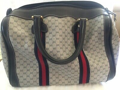 Authentic Vintage 80's Gucci Signature Accessory Navy/Red Boston Doctor's Bag