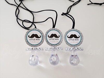 Little Man Mustache Party Supplies (12 Little Man Mustache Baby Shower Pacifier Necklaces Favor Its a boy Party)