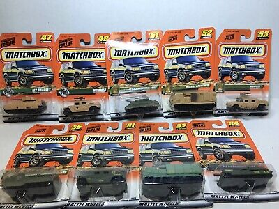 Lot of 9 Vintage Matchbox Military Vehicles 1998-99, Rare and All New In Pack!