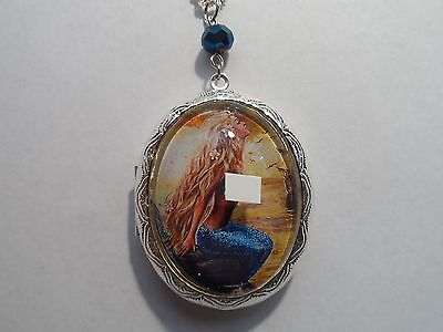 SILVER PLATED MERMAID IN THE SEA LOCKET-HIGH QUALITY