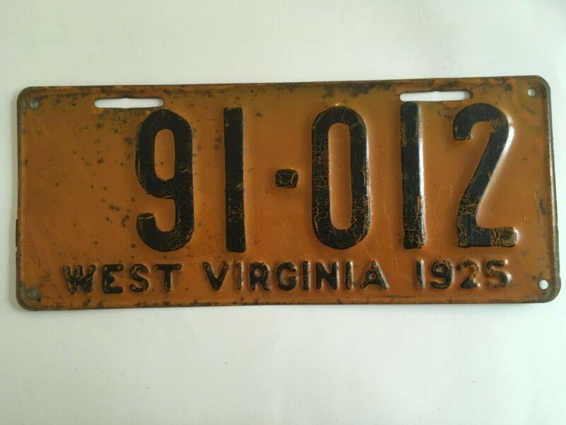 1925 West Virginia License Plate ALL ORIGINAL Orange Paint Still Has Gloss