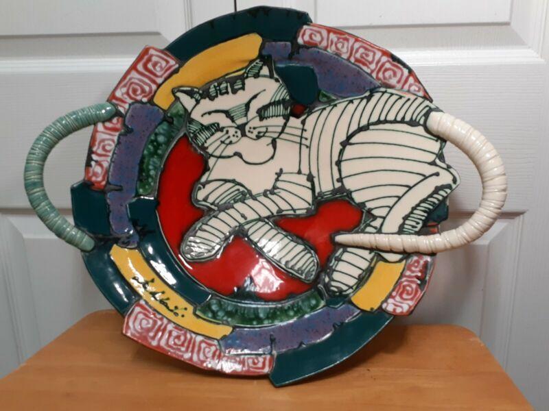 Juozas & Rasa Saldaitisceramic Art Pottery Abstract sculpted Cat Bowl Platter