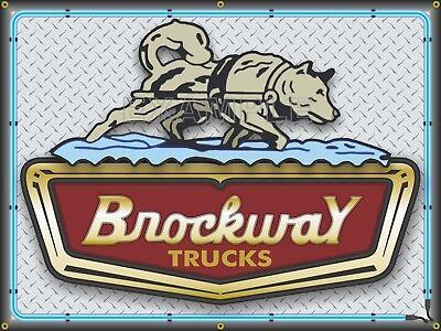 BROCKWAY TRUCKS Agent SALES EMBLEM PRINTED BANNER SIGN GARAGE ART MURAL 3' X 4'